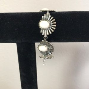 Bracelet Silver Metal & faux stone NWOT